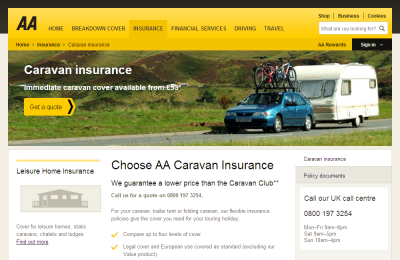 Official AA Caravan Insurance UK Website