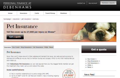 Official Debenhams Pet Insurance UK Website