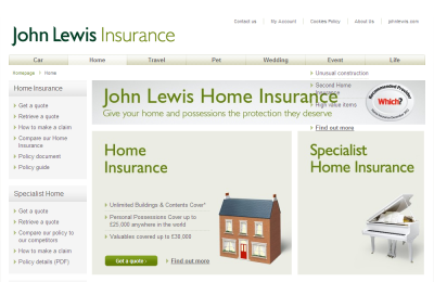 Official John Lewis Home Insurance UK Website