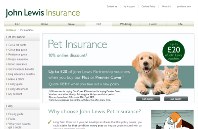 Official John Lewis Pet Insurance UK Website