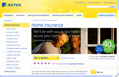 Official Aviva Home Insurance UK Website